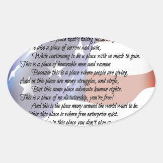 L'affiche d'art de poésie de drapeau des sticker ovale