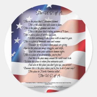 L'affiche d'art de poésie de drapeau des sticker rond