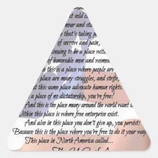 L'affiche d'art de poésie de drapeau des sticker triangulaire