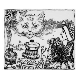 L'affiche vintage d'illustration de chat de Cheshi Affiches