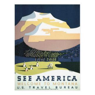 L'affiche vintage Montana de voyage de WPA voient Carte Postale