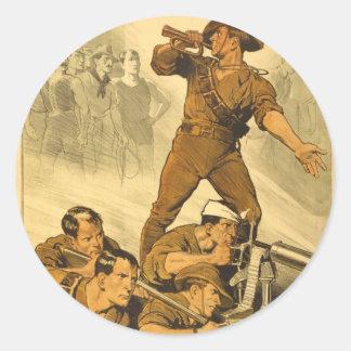 L'affiche WW1 vintage d'appels de trompette Sticker Rond