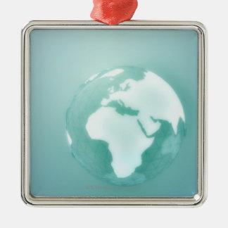 L'Afrique sur le globe Ornement Carré Argenté
