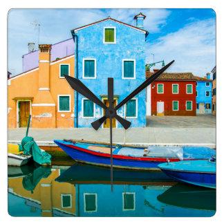 Lagune colorée de la scène |Venetian de bateau Horloge Carrée