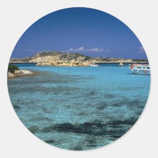 Lagune, île méditerranéenne de la Sardaigne Autocollant Rond
