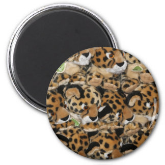 L'aimant, bébé a bourré des jouets de léopard magnet rond 8 cm