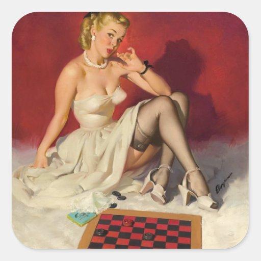Laisse le jeu un jeu - rétro fille de pin-up autocollant carré