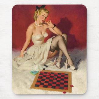 Laisse le jeu un jeu - rétro fille de pin-up tapis de souris