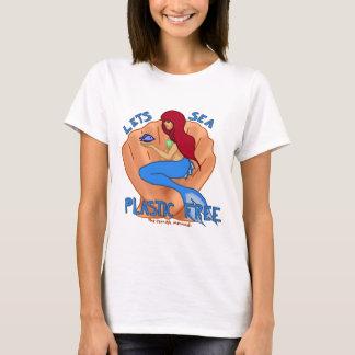 Laisse le plastique de mer libre ! Sirène bleue T-shirt