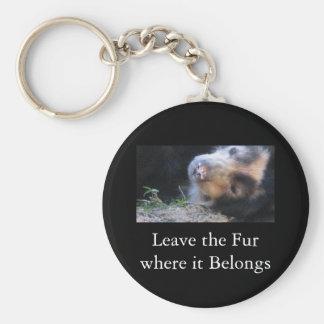 Laissez la fourrure où il appartient porte-clé rond