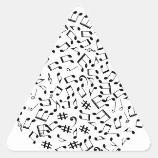 Laissez la musique créer l'amour et la rémission sticker triangulaire