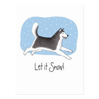 """""""Laissez-le neiger !"""" Conception gaie de chien Cartes Postales"""