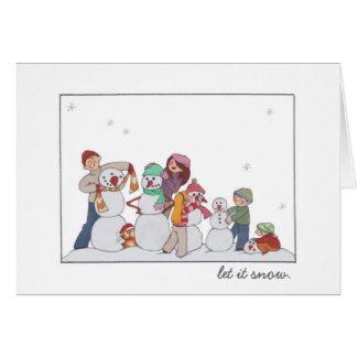 """""""Laissez-le neiger"""" famille de bonhomme de neige Cartes De Vœux"""