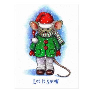 """""""Laissez-le neiger"""" petite souris empaquetée pour Cartes Postales"""