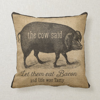 Laissez-les manger du lard que la vache a indiqué oreiller