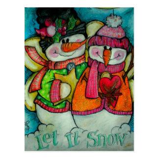 Laissez lui neiger - anges de bonhomme de neige carte postale