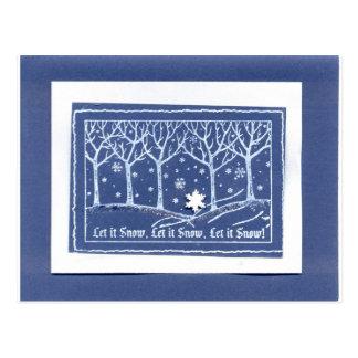 Laissez lui neiger blanc bleu de salutations de cartes postales