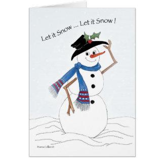 Laissez lui neiger bonhomme de neige carte de vœux