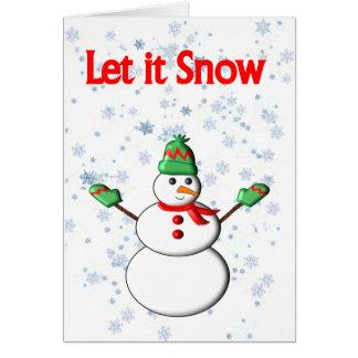Laissez lui neiger carte de bonhomme de neige