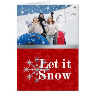 Laissez lui neiger carte de Noël de photo
