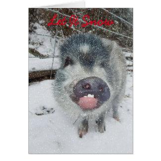 Laissez lui neiger carte de porc de Noël