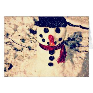 Laissez lui neiger carte de vacances de bonhomme