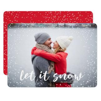 Laissez lui neiger carte photo moderne de vacances