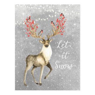 laissez lui neiger carte postale de mâle de cerfs