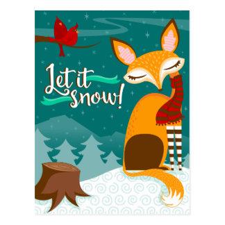 Laissez lui neiger ! Fox et carte postale de