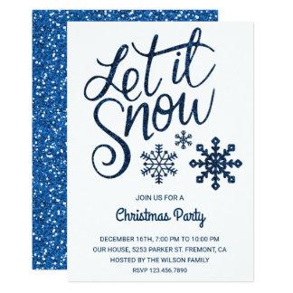 Laissez lui neiger invitation bleu de fête de Noël