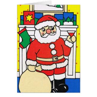Laissez lui neiger ! , Père Noël appréciant un Carte De Vœux