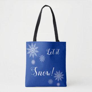 Laissez lui neiger ! Sac fourre - tout bleu et
