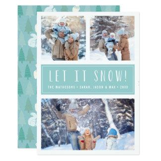 Laissez lui neiger | vacances de collage de 3 carton d'invitation  12,7 cm x 17,78 cm