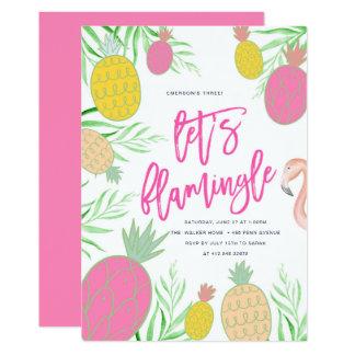 Laissez-nous fête d'anniversaire d'ananas de carton d'invitation  12,7 cm x 17,78 cm