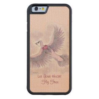 Laissez votre imaginaire libre de mouche de coeur coque iPhone 6 bumper en érable