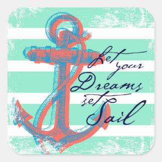 Laissez votre voile réglée par rêves sticker carré