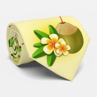 Lait de noix de coco tropical hawaïen drôle. jaune cravates