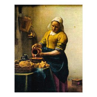 Lait se renversant de la bonne de Vermeer (circa 1 Prospectus 21,6 Cm X 24,94 Cm