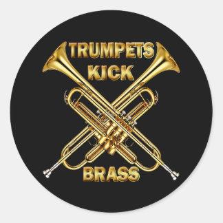 Laiton de coup-de-pied de trompettes sticker rond