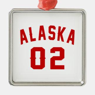 L'Alaska 02 conceptions d'anniversaire Ornement Carré Argenté