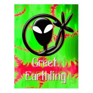 L'alien saluent la fractale de terrien carte postale