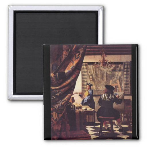 L'allégorie de la peinture par Johannes Vermeer Aimants Pour Réfrigérateur