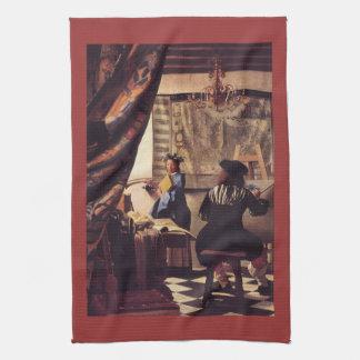 L'allégorie de la peinture par Johannes Vermeer Serviette Pour Les Mains
