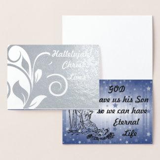 L'alléluia le Christ vit carte d'aluminium argenté