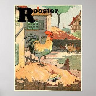 L'alphabet de livre de contes de coq posters