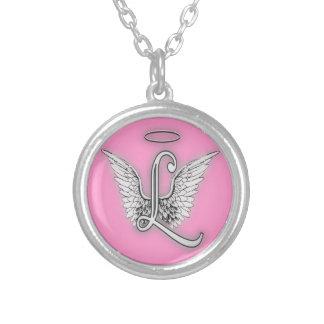 L'alphabet L lettre initiale d'ange s'envole le Pendentif Rond