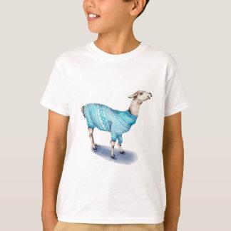 Lama d'aquarelle dans le chandail bleu t-shirt