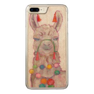 Lama de festival d'aquarelle coque en bois iPhone 7 plus
