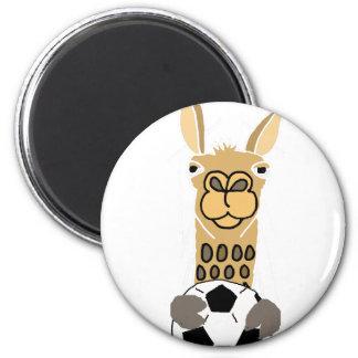 Lama drôle avec l'art de ballon de football aimant