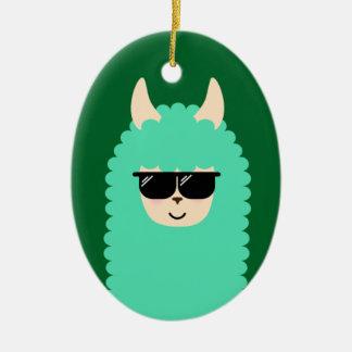 Lama frais d'Emoji Ornement Ovale En Céramique